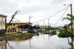 Flooding in belize. City after the hurricane earl Stock Photos