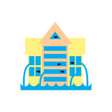 Flooding Building. many of water architecture. Deluge institution. Flood house. spontaneous disaster. Tsunami cataclysm city Royalty Free Stock Photo