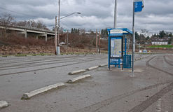 After Flooding Bus Stop Mess. STANWOOD, WA – DECEMBER 14: - Flood waters from Stillaguamish river poured over recently and left a muddy mess at this bus stop royalty free stock photography
