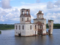 Flooding of the church. In water of the lake Royalty Free Stock Photography