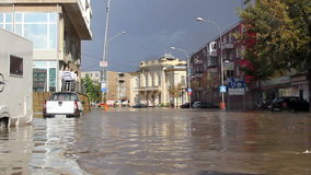Flooding in the city. Tulcea, Romania - September 13, 2013: Flooding in the city stock footage