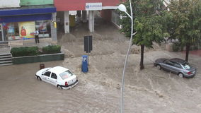 Flooding in the city. Tulcea, Romania - September 13, 2013: European city flooded after a heavy rain stock footage