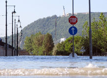 Flooding Danube. BUDAPEST, HUNGARY - June 8: Flooding water awash Danube bank and tramway in 5th district on 8th of June, 2010 in Budapest, Hungary Royalty Free Stock Photos