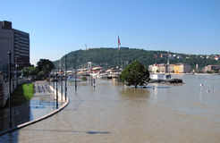 Flooding Danube in Budapest Royalty Free Stock Photos