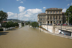 The flooding of the danube in Budapest Stock Photo
