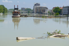 Flooding Danube River in Gyor Downtown. Hungary Royalty Free Stock Photo