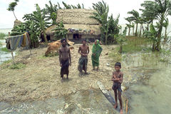 Flooding in the delta Bangladesh, climate changes. Bangladesh, village Charburhan on the island of Charkajal, Bay, Gulf of Bengal: No country in the world is so Stock Photos