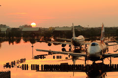 Flooding Donmaung Airport Bangkok Royalty Free Stock Photo
