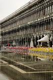 Flooding in Europe. Venice, Piazza San Marco. Royalty Free Stock Photo