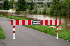 Flooding flood high water in Hannover Germany. Hochwasser German for high water flood flooding in Hannover, Germany Royalty Free Stock Photography