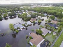 Flooded Houses in Sarasota, FL. Flooding after heavy rains in north Sarasota, Florida, in 2017 stock photography