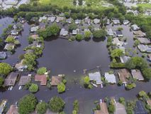 Flooded Neighborhood in Sarasota, FL. Flooding after heavy rains in north Sarasota, Florida, in 2017 stock images