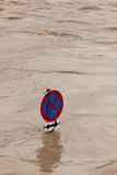 Flooding during high water after rain. Flooding in flood after heavy rain. traffic signs in the water Royalty Free Stock Photos