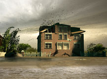 Flooding house Royalty Free Stock Image