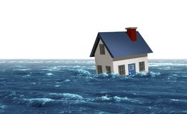 Flooding House Disaster Concept Stock Photo