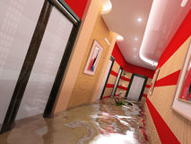 The flooding interior. The flooding corridor interior (3D image Royalty Free Stock Images
