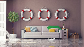 Flooding. In  interior. 3d creative concept Stock Photos