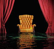 Flooding  interior. Luxury leather armchair and red curtain above flooding  interior (3D Stock Photography