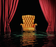 Flooding  interior. Luxury leather armchair and red curtain above flooding  interior (3D Stock Photo