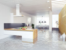 Flooding kitchen Royalty Free Stock Image