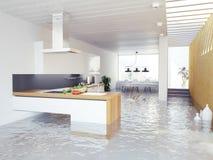 Flooding kitchen Royalty Free Stock Image