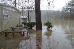 Flooding of Lake Taneycomo in Missouri. Flooding near Forsyth, Missouri ruins homes situated in the flood plain stock photos