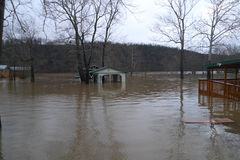 Flooding Lake Taneycomo in Missouri. Flooding near Forsyth, Missouri ruins homes situated in the flood plain stock photo