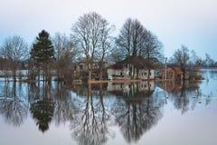 Flooding in latvia Stock Photo