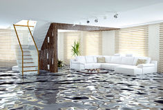 Flooding. In luxurious interior. 3d creative concept Royalty Free Stock Photo