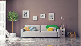 Flooding. In luxurious interior. 3d creative concept Royalty Free Stock Photography