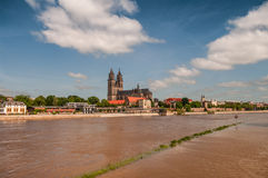 Flooding in Magdeburg, Cathedral at river Elbe, June 2013. Flooding in Magdeburg, Cathedral of Magdeburg at river Elbe, June 2013 Stock Photo
