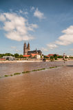 Flooding in Magdeburg, Cathedral at river Elbe, June 2013 Royalty Free Stock Photography