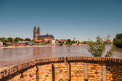 Flooding in Magdeburg, Cathedral at river Elbe, June 2013 Stock Images