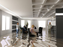 Flooding office. The bussines crisis situation (3D rendering Royalty Free Stock Photo
