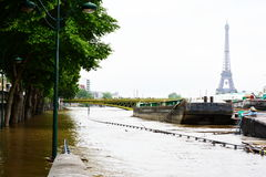 Flooding of Paris in 2016 with street under water and barges on the Seine Stock Photos