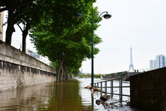 Flooding of Paris in 2016 with street under water and barges on the Seine Royalty Free Stock Images