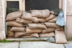 Flooding in Passau, Germany. Flooding in Passau. Bavaria. Germany. Sandbags protect against the water Royalty Free Stock Photos