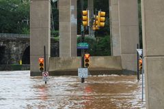 Flooding in Philadelphia. Flooding on Kelly Drive in the East Falls section of Philadelphia caused by Hurricane Irene. (08/28/2011 Royalty Free Stock Images