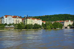 Flooding in Prague in June 2013, Moldau, Castle, Prague, Czech Republic Royalty Free Stock Photography