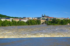 Flooding in Prague in June 2013, Moldau, Castle, Prague, Czech Republic Stock Images