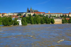 Flooding in Prague in June 2013, Moldau, Castle, Prague, Czech Republic Stock Photography
