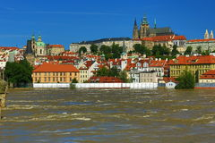 Flooding in Prague in June 2013, Moldau, Castle, Prague, Czech Republic Royalty Free Stock Image