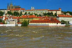 Flooding in Prague in June 2013, Moldau, Castle, Prague, Czech Republic Royalty Free Stock Photos