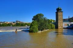 Flooding in Prague in June 2013, Moldau, the Šítkovská Water-Tower , Prague, Czech Republic Stock Photo