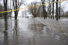 Flooding on the river. In city boundaries Royalty Free Stock Photos