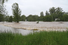 Flooding river. S in north-east of Czech republic. Name of the village - Detmarovice Stock Photo