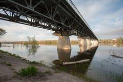 Flooding on the river Akhtuba. At Akhtubinsk bridge Stock Photography
