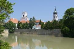 Flooding River at Bishop Castle. Flooding Raba River at Bishop Castle Walls in Gyor, Hungary Stock Images