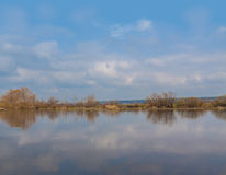 Flooding on the river. In early spring in Ukraine Royalty Free Stock Photo