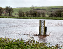 Flooding River. High Water Level Marker Gauge Stock Photos